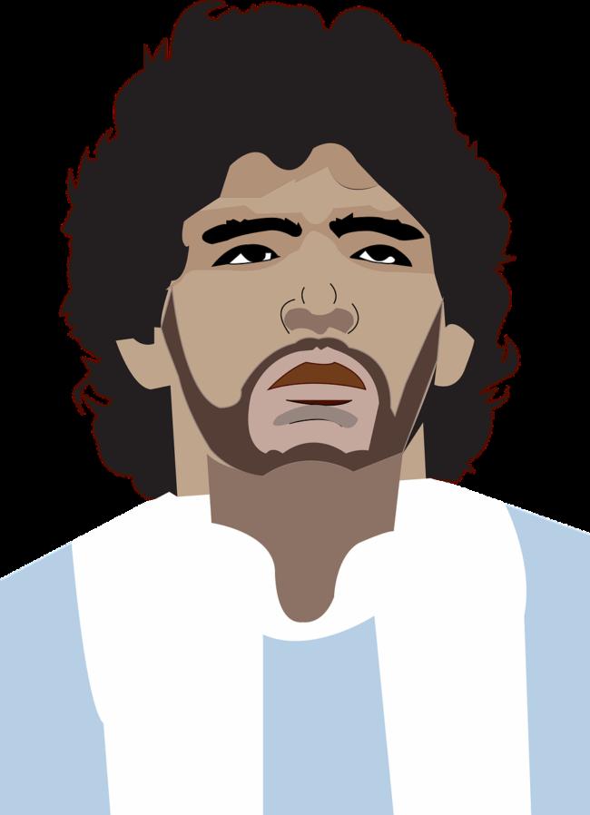 Diego Maradona, ihm gehört »Die Hand Gottes«. Auslöser für den Titel war ein Tor, welches Maradona im WM-Viertelfinale gegen England 1986 mit seiner linken Hand erzielte.   (c) Radoan_tanvir auf Pixabay