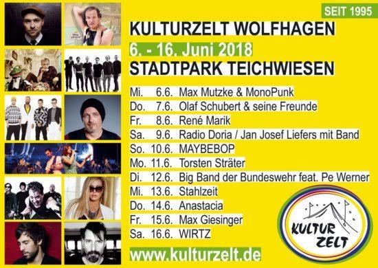 Max Mutzke macht den Anfang im Wolfhager Kulturzelt 2018