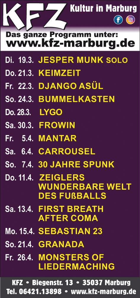 Drei spannende Konzerte im KFZ Marburg