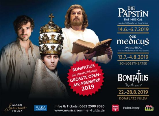 Musicalsommer Fulda 2019: Die Päpstin, Der Medicus, Bonifatius - Drei Originale aus der Domstadt