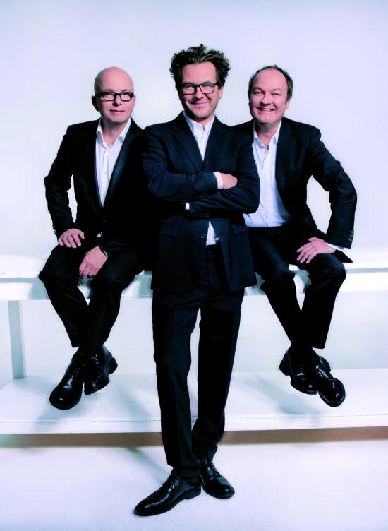 Die Synchronsprecher der drei Fragezeichen: Oliver Rohrbeck (Justus Jonas), Andreas Fröhlich (Bob Andrews) und Jens Wawrczeck (Peter Shaw)