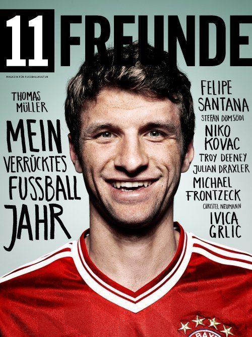 Thomas Müller auf dem Cover des 11 Freunde Magazins, #146 im Januar 2014.