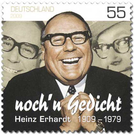 Heinz Erhardt - 55 Pfennig Briefmarke - Ehrung zum 100. Geburtstag durch eine Sonderbriefmarke der Deutschen Post AG, im Jahre 2009