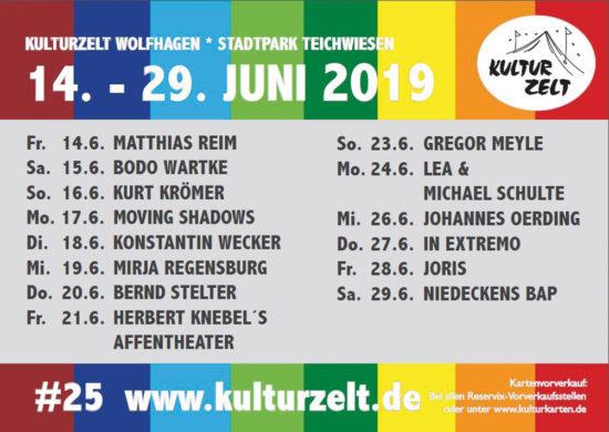 Das 25. Kulturzelt Wolfhagen! 2019 mit Gregor Meyle und vielen mehr