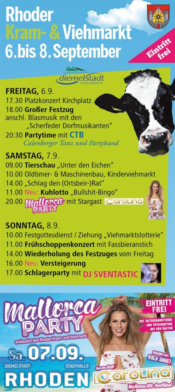Große Mallorca-Party zum Rhoder Kram- und Viehmarkt!