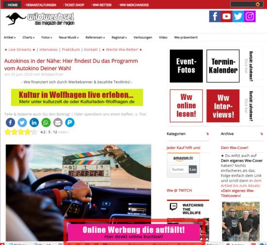 Ww-Browser-Banner: »Unten-Hervorragend« (Desktop)