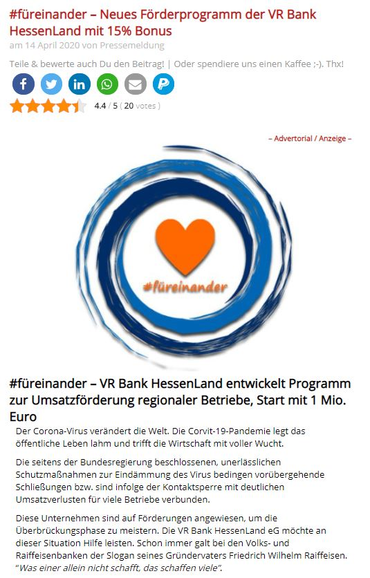 Beispiel für ein Advertorial - PR-Text auf Wildwechsel.de mit Anzeigen Kennzeichnung oben und unten in identischer Form)
