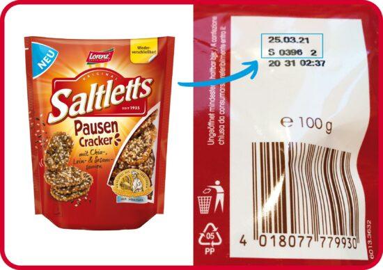 Produktrückruf Saltletts Pausen Cracker   Lorenz Snack-World ruft vorsorglich Produkte mit Sesamsamen in Deutschland zurück (c) obs/The Lorenz Bahlsen Snack-World GmbH & Co KG Germany/Lorenz Snack-World