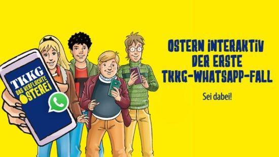 <strong>Ostern</strong> wird mit <strong>TKKG</strong> zum Abenteuer. Und zwar zum interaktiven TKKG-WhatsApp-Fall, bei dem die Teilnehmer*innen gemeinsam mit der Bande den Fall »<strong>Das verfluchte Osterei</strong>« lösen. | (c) Kühl PR