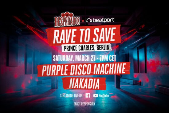 Die »Rave to Save« Reihe startet mit den Acts von DJ Purple Disco Machine und Nakadia am 27. März 2021 um 19 Uhr. | (c) Desperados