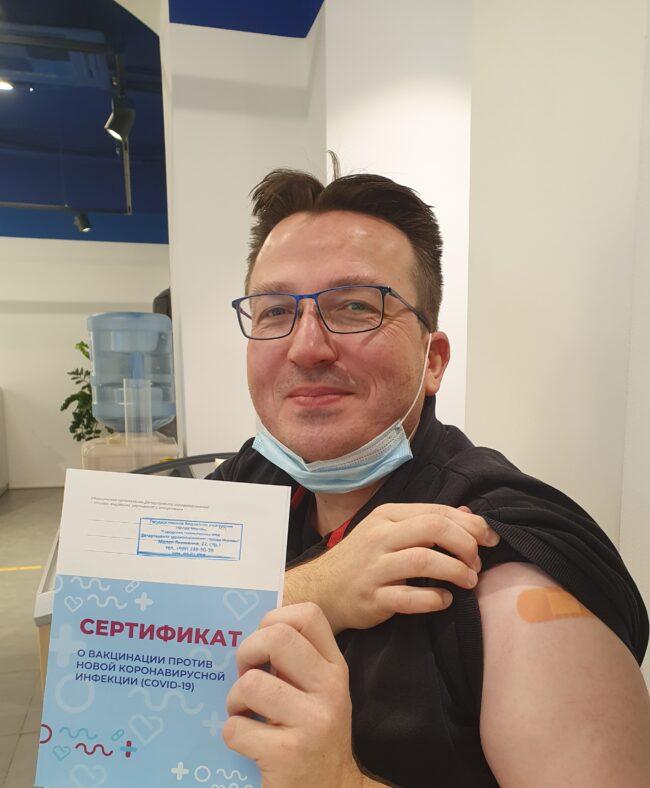 Stefan hat seinen Besuch in Moskau auf für das Impfen genutzt. Dort kann sich jede:r mit dem Impfstoff Sputnik V gegen das Corona-Virus impfen lassen. Auch Du, wenn du an der Reise nach Moskau am Vatertag teilnehmen möchtest. | (c) Stefan Heilemann