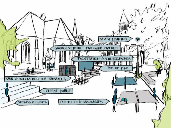 Mehr Aufenthaltsqualität, Beruhigung des Verkehrs, Stärkung von Handel und Gastronomie – die Bielefelder Altstadt soll noch lebenswerter und attraktiver werden.   (c) Foto Stadt Bielefeld/Amt für Verkehr