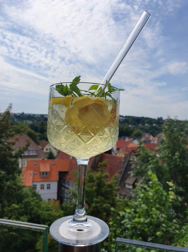 Mit dem Virenputzer lässt sich die Aussicht auf Warburg direkt besser genießen. | (c) Gasthaus Zur Alm