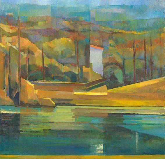 """Das Kunstwerk, des heimischen Künstlers, zeigt einen Park und wird im Rahmen der Ausstellung, """"Welten. Eine Reise nach Epirrhema""""  gezeigt. Die Ölmalerei von Johann Rosenboom ist auf einer Leinwand mit der Größe 100 x 100 cm im Jahr 2011 entstanden."""