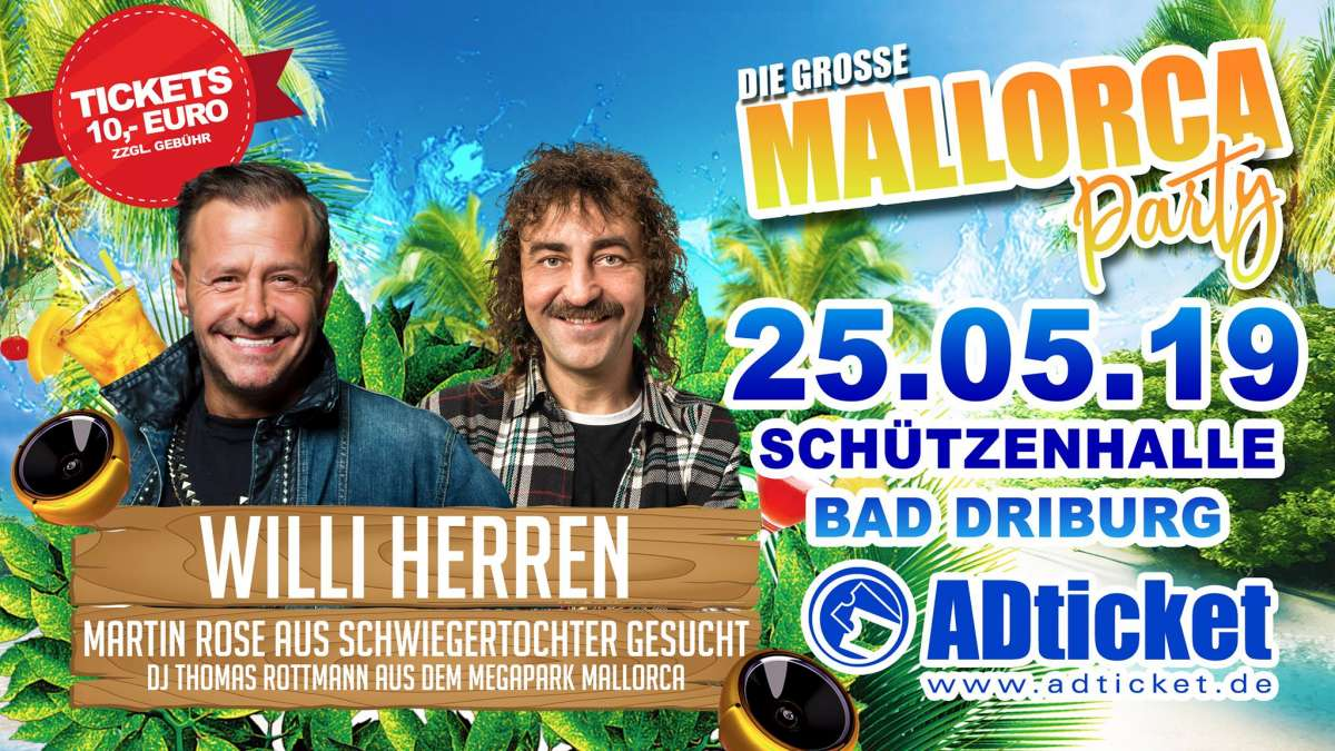 Mallorca Party - Willi Herren, Martin Rose, DJ Thomas Rottmann - Schützenhalle  - Bad Driburg