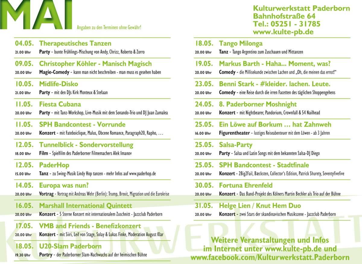SPH Bandcontest Stadtfinals - 2Big2Fail, Bæcksten, Collector's Edition, Patrick Shurety, Seventyfivefive - Kulturwerkstatt  - Paderborn