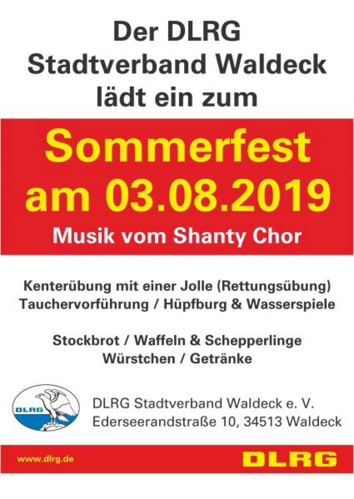 Sommerfest - Shanty Chor - DLRG Stadtverband  - Waldeck