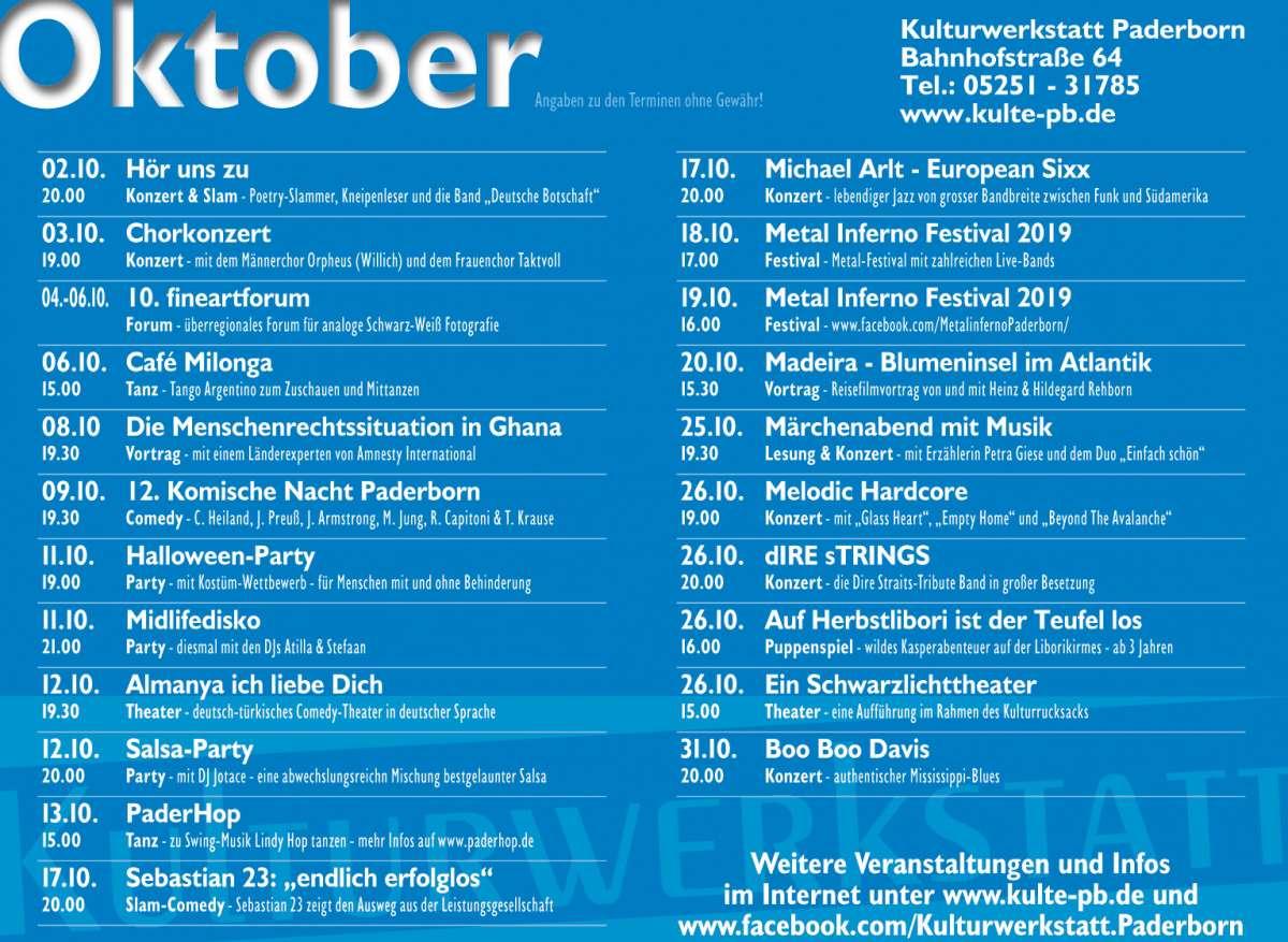 Veranstaltungen & Events am »Freitag, 11. Oktober 2019« in deiner Nähe...