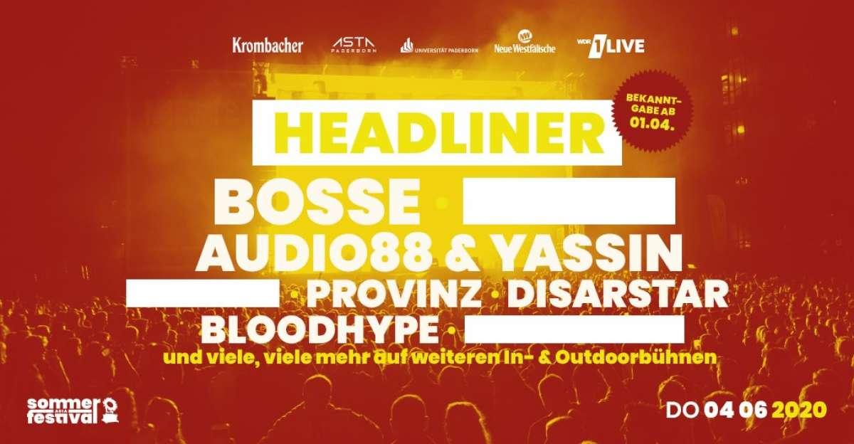 AStA Sommerfestival 2020 - Bosse, Audio 88 & Yassin, Provinz, Disarstar, Bloodhype - Studiobühne der Universität  - Paderborn