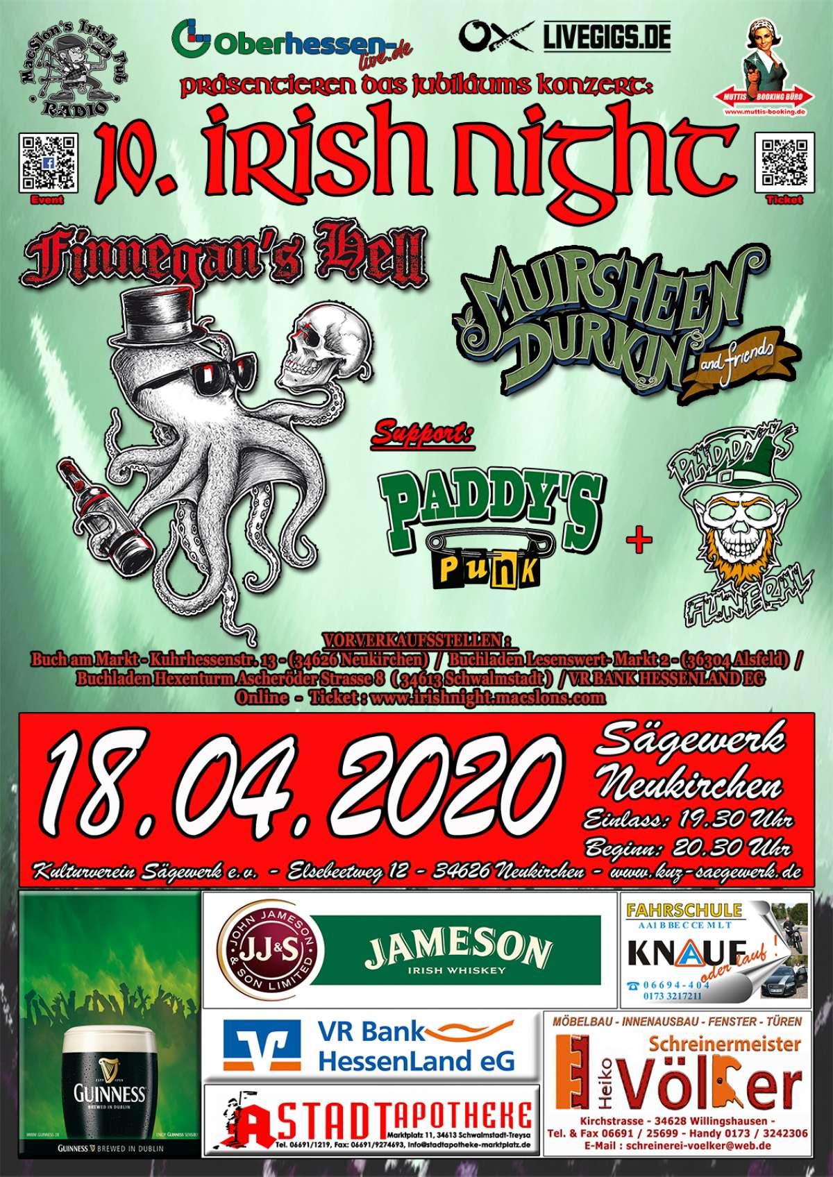 ABGESAGT: 10.Irish Night Jubiläums Konzert - Finnegan`s Hell, Muirsheen Durkin, Paddy´s Punk, Paddy´s Funeral - Sägewerk Neukirchen - Neukirchen (Knuell)