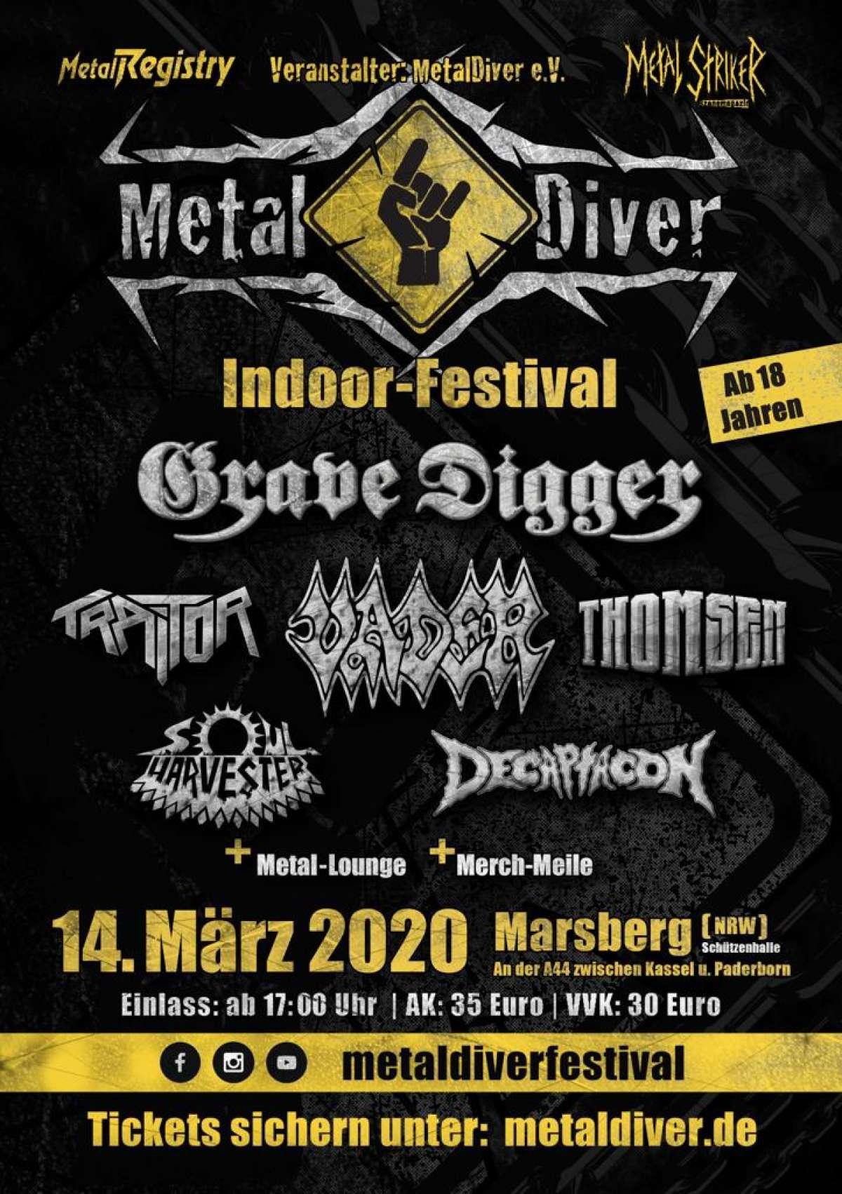 Metal Diver 2021 - Grave Digger, Vader, u.a. - Schützenhalle  - Marsberg