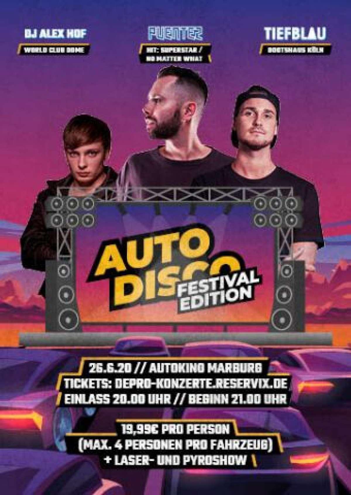 Auto Disco Festival Edition - David Puentez, Tiefblau und Alex Hof - Autokino  Messeplatz - Marburg