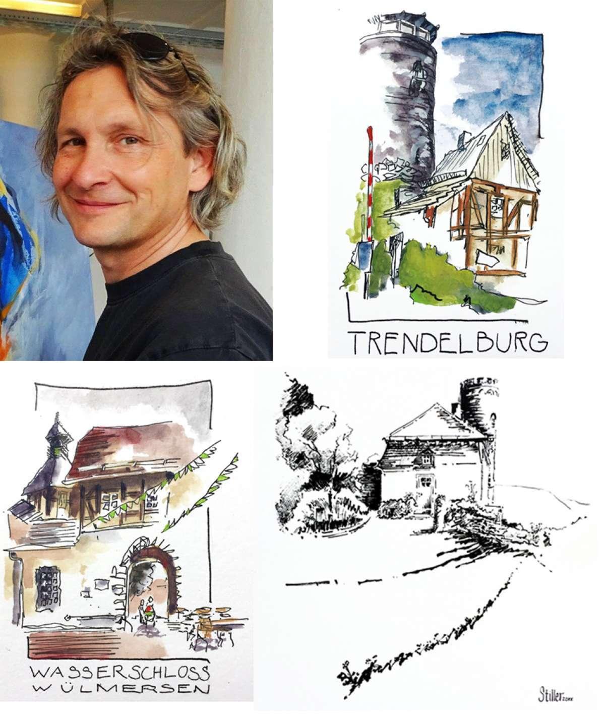 Burg-Skizzen-Tour 2021   Burg Herstelle - Dornröschenschloss Sababurg - Trendelburg - Wasserschloss Wülmersen - Krukenburg - Burg Herstelle