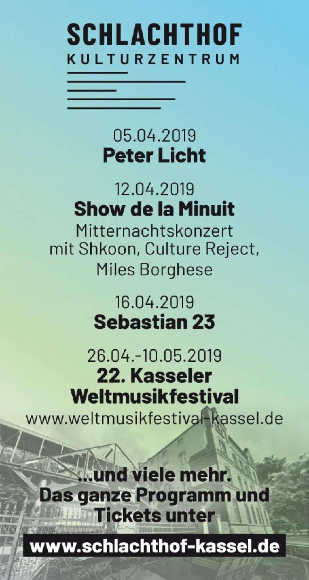 Veranstaltungen & Events am »Freitag, 05. April 2019« in deiner Nähe...