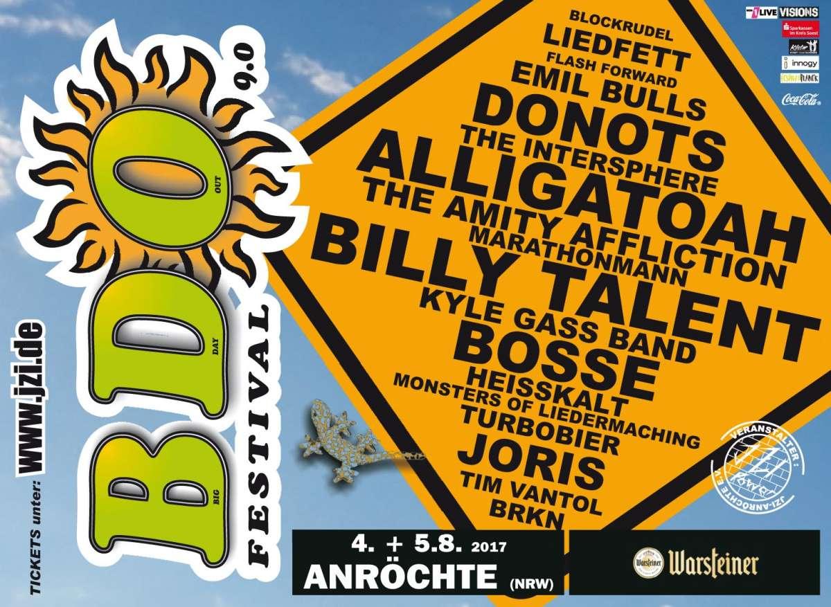 Ww-Terminator: Big Day Out Festival 10.0 - Beginner (Hip-Hop), Beyond The Black (Symphonic Metal), Bullet For My Valentine (Heavy Metal), B-Tight (Hip-Hop), Fettes Brot (Hip-Hop), Henning Wehland (Pop, div.), Megaloh (Hip-Hop), Teesy (Pop, Hip - Festivalgelände Anröchte