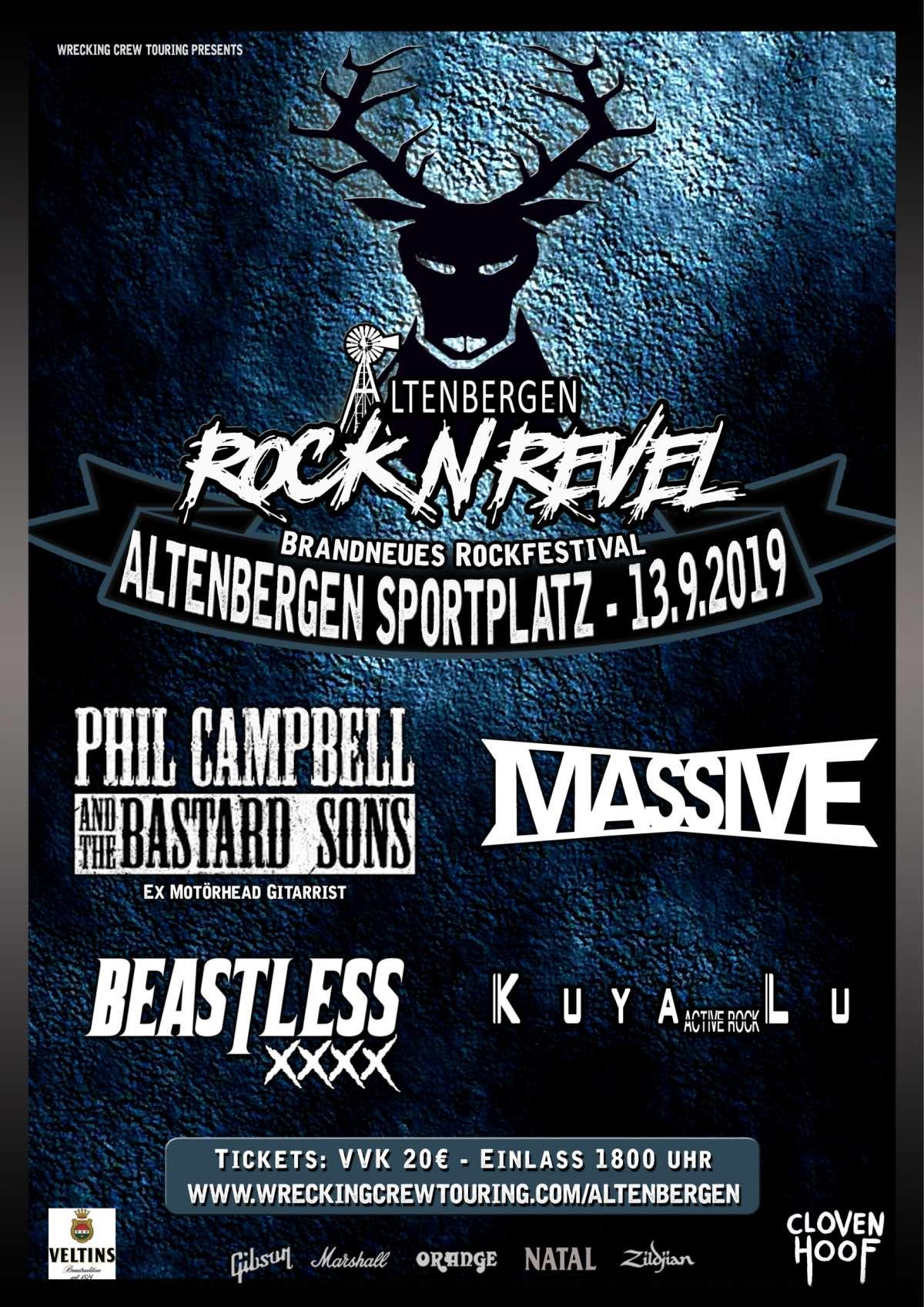 Altenbergen Rock 'N Revel - Phil Campbell and The Bastard Sons, Massive, Beastless, Kuya Lu - Sportplatz Altenbergen - Marienmünster-Altenbergen